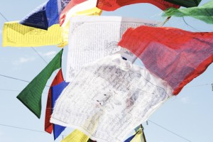 Tibetan Prayer flags fluttering in the wind